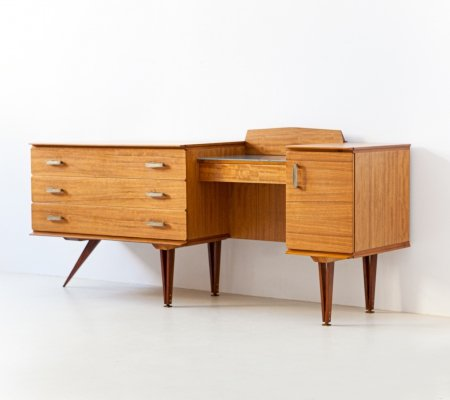 1950s Italian Modern Teak Chest of Drawers With Desk