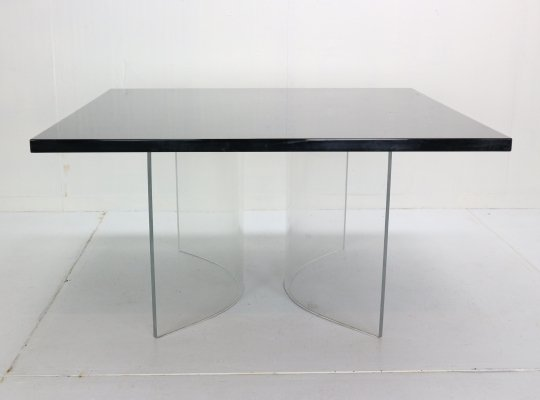'Acerbis International' Black Square Floating Dining Table, Italy 1970s