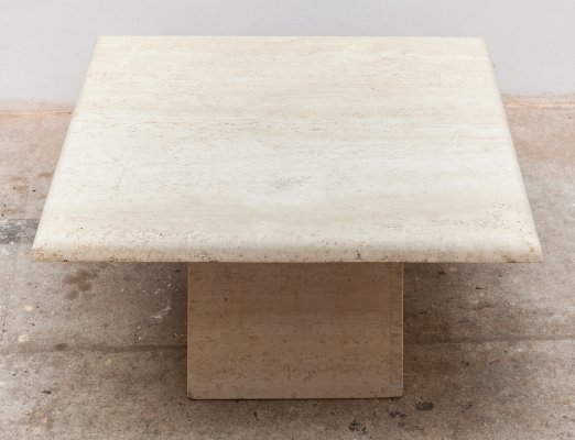 1970s travertine coffee table with square top
