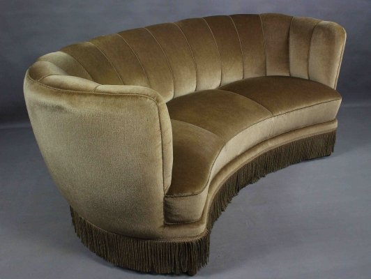 Danish Curved Beige Velvet Banana Sofa, 1950s