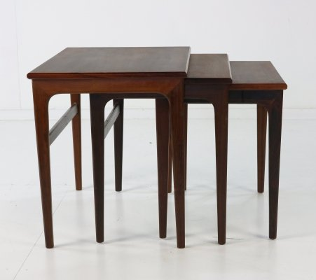 Set of 3 Danish design rosewood nesting tables