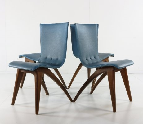 Set of 4 original blue vinyl / leatherette Van Os Swing chairs