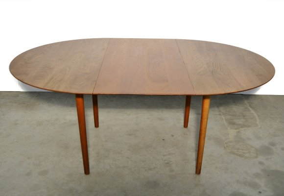 Extendable teak dining table by Peter Hvidt & Orla Mølgaard Nielsen, Danish 1950