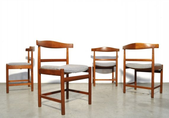 Set of 4 mid-century teak dining chairs by Søborg Møbelfabrik, Denmark 1960s