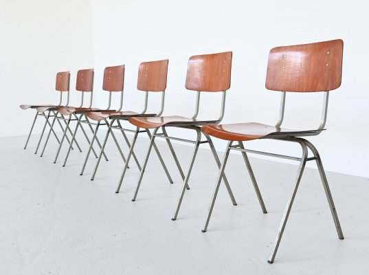 6 x Dutch industrial stacking chair, The Netherlands 1960s