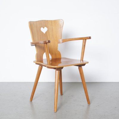 Solid pine wood chair, 1960s