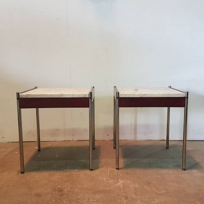 Set of two minimalist side tables with marble tops, Netherlands 1960s
