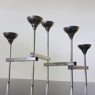 Articulated adjustable candle holder made from chromed steel, 1960s