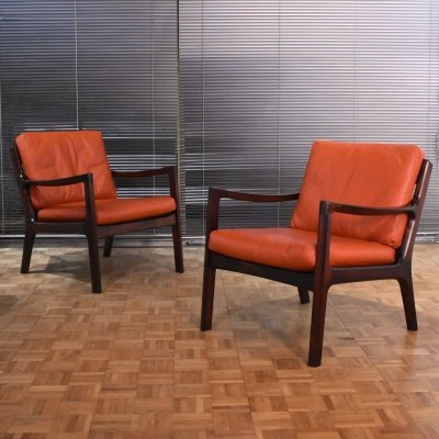 Pair of Ole Wanscher Rosewood Senator Chairs for France & Son