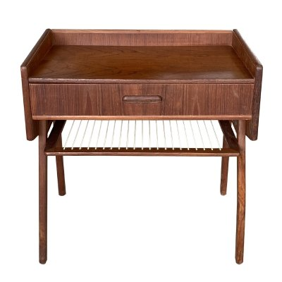 Danish teak side table with drawer & newspaper rack, 1960s