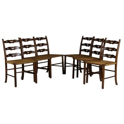 Set of 6 Oak & Woven Rush Dining Chairs, 1920s