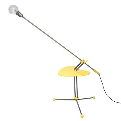 Yellow Metal & Plywood Floor Lamp with a table, Poland, 1970s