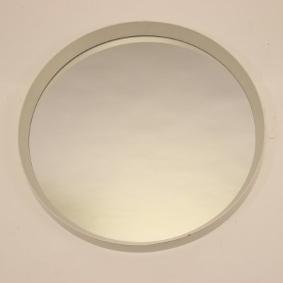 Vintage large round white mirror, 1960s