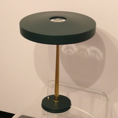 Timor table lamp in dark green by Louis Kalff for Philips, 1950's