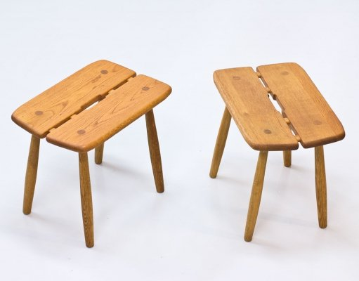 Pair of Oak Stools by Carl Gustaf Boulogner, Sweden 1950s