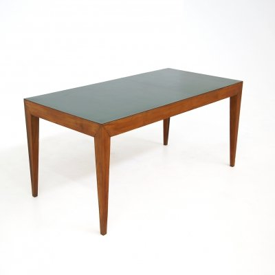 Dining table by Gio Ponti in walnut & green formica, 1950s