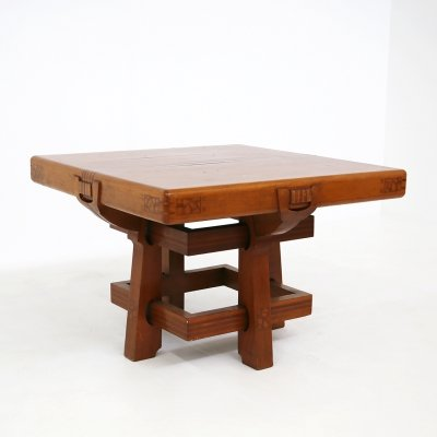Italian Table in solid walnut inlaid wood