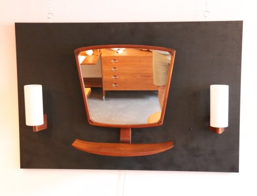 Danish hall set with mirror & 2 wall lamps, 1960's