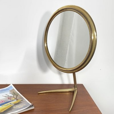 Mid Century Table Mirror / Vanity Mirror in Brass, Italy 1950s