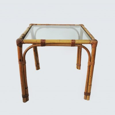 Glass Topped Bamboo Coffee Table, 1970s