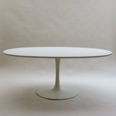 Large Oval White Tulip Dining Table by Maurice Burke for Arkana