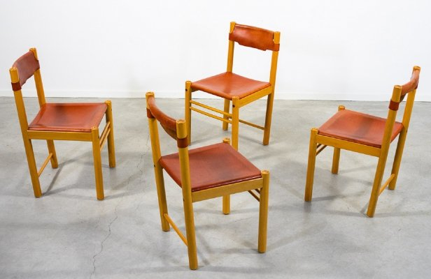Ibisco set of 4 minimalistic saddle leather chairs