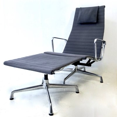 Charles Eames for Vitra Loungechair EA124 with Hocker EA125, 1990s