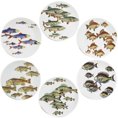 Complete set of 6 plates 'Passata di Pesce' (Passage of Fish) by Piero Fornasetti