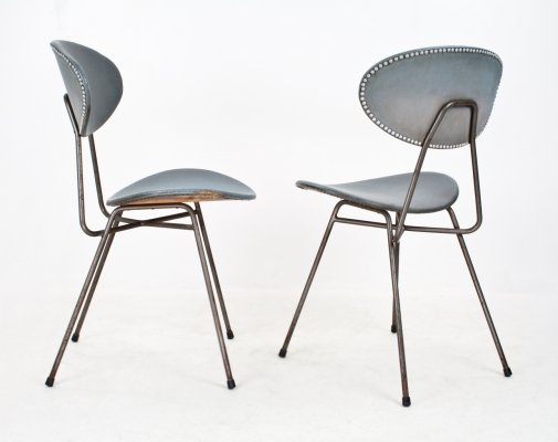 Metal & faux leather 'Staatsmijnen' chairs by Rob Parry & Emile Truijen, 1955