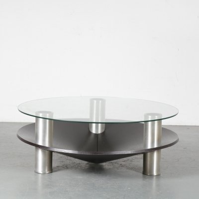 1970s Round aluminium coffee table, Netherlands