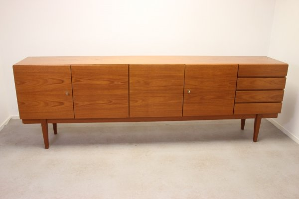 Long teak sideboard with cabinets & drawers, 1960s