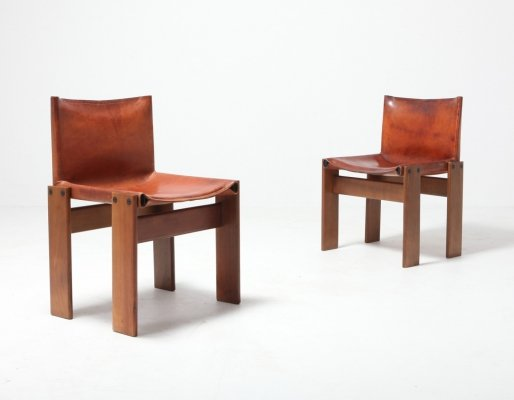 Set of 2 Scarpa 'Monk' Chairs in Patinated Cognac Leather, 1970s