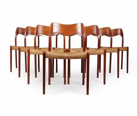 Set of 8 Mid Century Teak Dining Chairs Model 71 by Neils Moller, 1960s