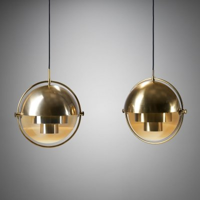 Pair of Brass Multi-Lite Pendants by Louis Weisdorf for Lyfa, Denmark 1972
