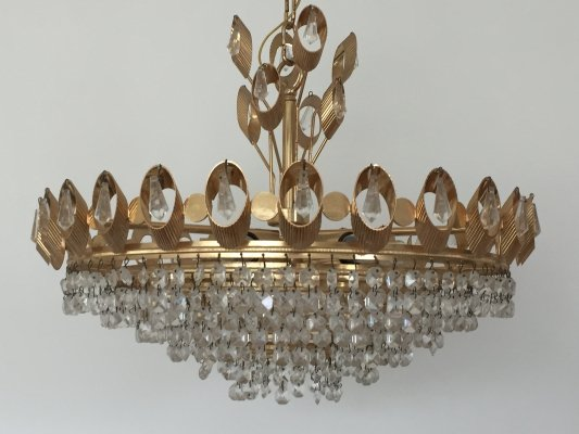 Gold colored glass & brass chandelier by Palme & Walter