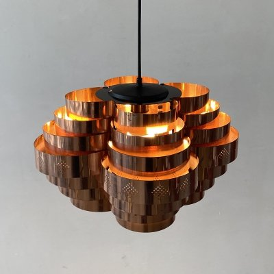 Danish copper hanging lamp by Werner Schou for Coronell Elektro, 1960s