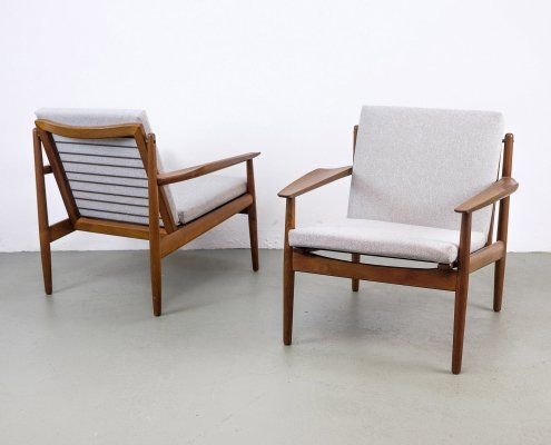 Set of 2 Teak Lounge Chairs by Arne Vodder for Glostrup