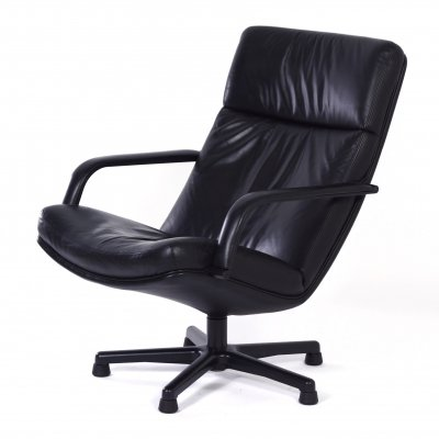Black Leather F154 Easy Chair by Geoffrey Harcourt for Artifort, 1980s