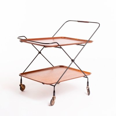 Mid century Swedish serving trolley by Paul Nagel for JIE Gantofta, 1960's