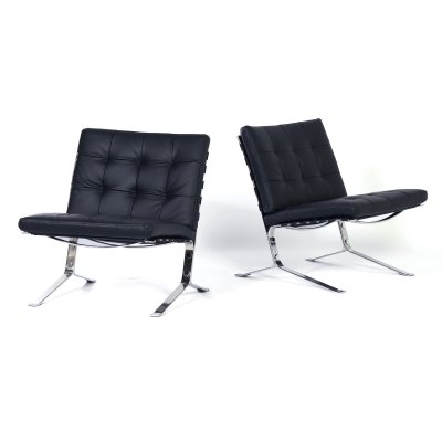 Pair of black leather 'Joker' Lounge Chairs by Olivier Mourgue for Airborne, 1960s