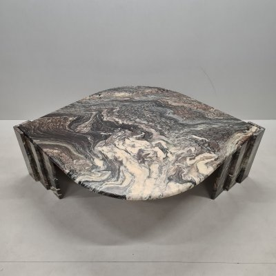 Italian marble eye-shaped coffee table, 1970s