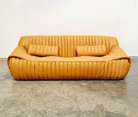 Cinna Sandra sofa in mustard leather by Ligne Roset, 1970s