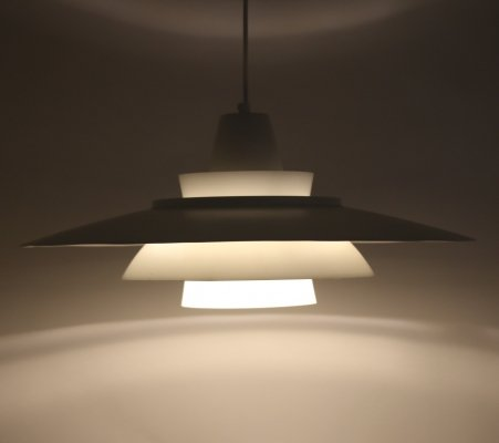Big White Danish hanging lamp by Super Light Denmark, 1970s