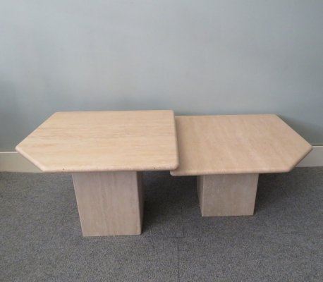 Set of 2 travertin marble coffee tables, 1980s