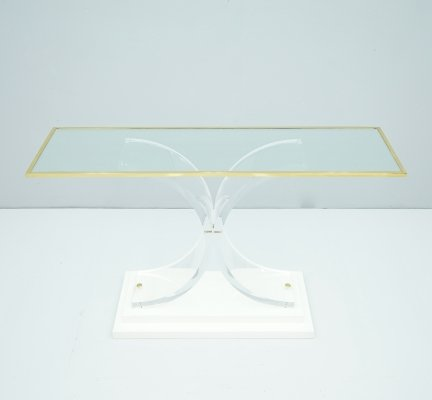 Console Table in Lucite, Glass & Brass, France 1970s