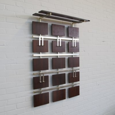 Vintage teak compartments wall coat rack, 1960s