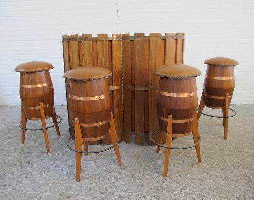 Vintage foldable barrel bar with stools, 1970s