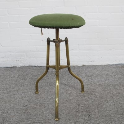 Vintage English brass adjustable piano stool