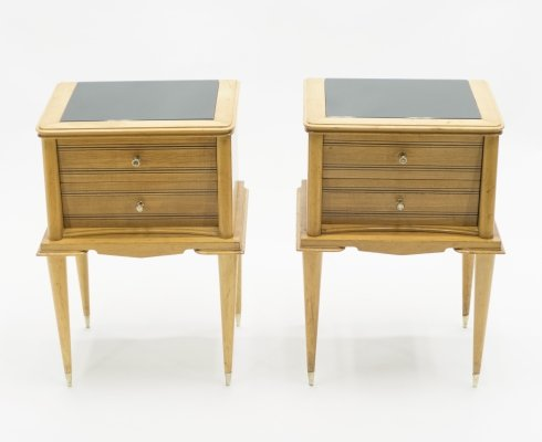 French sycamore Night Stands with 2 drawers, 1950s