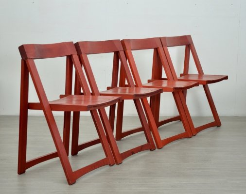 Set of 4 Red Folding Chairs by Aldo Jacober for Bazzani, 1970s